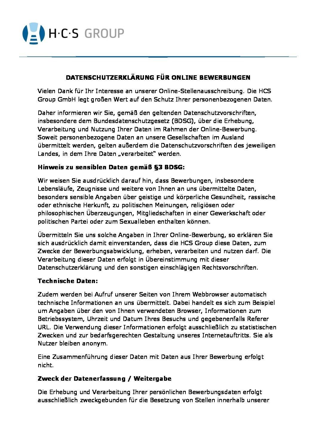 datenschutzerklrung online bewerbung - Online Bewerbung Pdf